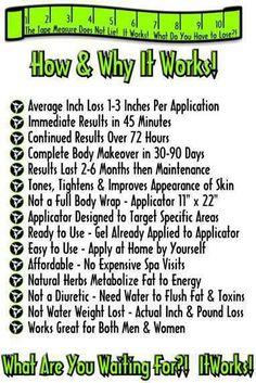 It Works! Message April at aprilcj85@gmail.com or visit my website Http://www.wrapitallwithapril.myitworks.com