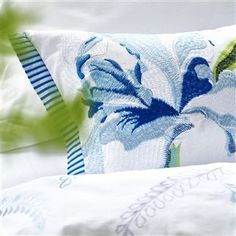 Designers Guild Antoinette Wedgwood Small Embroidered Pillow Ships Free #romanticpillow