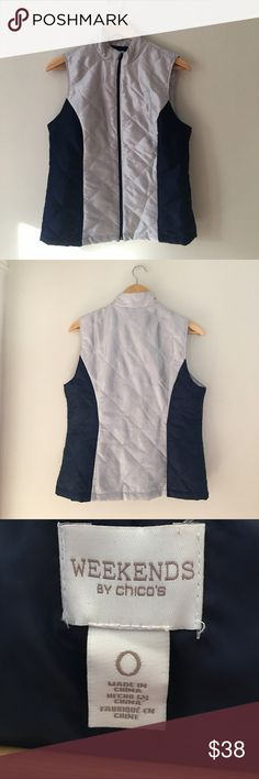 Chico's Lightweight Winter Vest Lightweight silver & blue winter vest by Chico's. Size 0. EUC. Chico's Jackets & Coats Vests