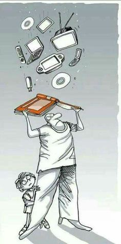 Dad protecting child from all the modern technology with a book|Bookish art|