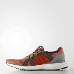 These adidas by Stella McCartney Ultra Boost knit shoes are ready for day or night with a reflective cage. Featuring the energy return and comfortable cushion of the boost™ midsole, sidewall support and a sock-like fit.