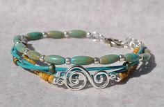 Turquoise Mix Multi Strand Bracelet w Silver by SeaSideStrands