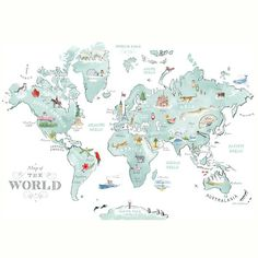 Alice Tait 'Illustrated World Map' Print - Alice Tait Shop - Alice Tait 'Illustrated World Map' Print – Alice Tait Shop - Kids World Map, World Map Art, Framing Canvas Art, Canvas Frame, Framed Maps, Framed Prints, World Map Wallpaper, Graphic Illustration, Map Illustrations