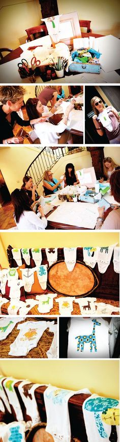 This is the cutest baby shower idea ever! Instead of playing those silly games, everyone can use cute fabrics, stencils and templates to create their own onesie! Baby Shower Crafts, Baby Crafts, Baby Shower Games, Baby Shower Parties, Shower Gifts, Baby Boy Shower, Shower Party, Boy Onesie, Onesies