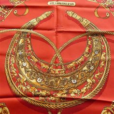 "HERMES Scarf, Red, Gold tone, Vintage 1975, Entitled ""Les Cavaliers d'or"", Design V. Rybaltchenko, Made in France, Gift Idea, Free Shipping"