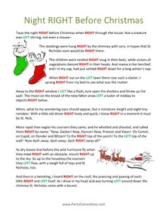 9 Best Images of Printable Right Left Christmas Game Twas The Night Before - Night Before Christmas Left Right Poem, Night Before Christmas Gift Exchange and Twas the Night Before Christmas Gift Exchange Free Christmas Games, Christmas Gift Exchange Games, Xmas Games, Printable Christmas Games, Christmas Poems, Holiday Games, Christmas Activities, Family Christmas, Christmas Traditions