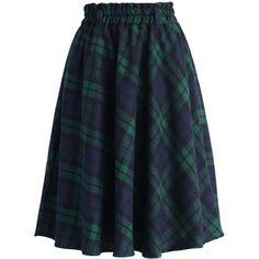 Chicwish Green Tartan A-line Midi Skirt (2.935 RUB) ❤ liked on Polyvore featuring skirts, bottoms, saias, green, knee length a line skirt, green a line skirt, green tartan skirt, plaid skirt and blue a line skirt