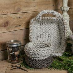 Loom Knit Round Basket with Fold Down Cuff Pattern.