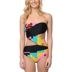 Volcom Girls Block Box One Piece Swimsuit ($90) ❤ liked on Polyvore