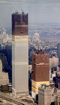 Amazing view of the World Trade Center towers going up in the early 1970s