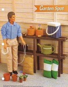 GARDEN SPOT FURNITURE PLASTIC CANVAS PATTERN BY ANNIE'S FOR FASHION DOLL picclick.com