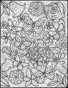 coloring pages - Adult Coloring Page Printable Coloring Page for Butterfly lovers Gift Coloring Page Fun Coloring Page for Adults Printable Coloring Coloring Pages For Grown Ups, Printable Adult Coloring Pages, Cool Coloring Pages, Flower Coloring Pages, Christmas Coloring Pages, Animal Coloring Pages, Coloring Pages To Print, Coloring Books, Coloring Sheets