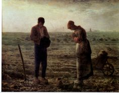 Jean-François Millet (1814-1875) The Angelus Between 1857 and 1859 Oil on canvas H. 55.5; W. 66 cm © RMN-Grand Palais (Musée d'Orsay) / A man and a woman are reciting the Angelus, a prayer which commemorates the annunciation made to Mary by the angel Gabriel. They have stopped digging potatoes and all the tools used for this task – the potato fork, the basket, the sacks and the wheelbarrow – are strewn around them.