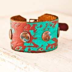 Leather Buckle Bracelet Wristbands Cuffs Turquoise Boho Gypsy Hippie Spring Cuff Bracelets OOAK Tribal Native Rustic Primitive