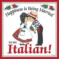 """Italian Gift Idea Decorative Tile """"Married to Italian"""" – 6""""x6"""" Ceramic Tile"""