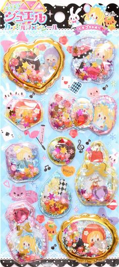 fairy tale Alice in Wonderland glitter capsule stickers 2