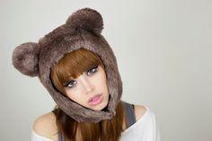 Bear hat, aviator cap, fur bear ears