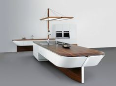 Unique Shape Home Kitchen Collections By Alno: awesome boat shaped kitchen interior furniture design