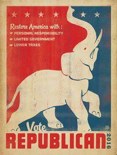 Anderson Design Group Premium Thick-Wrap Canvas Wall Art Print entitled Restore America, Vote Republican - Retro Political Poster, None Elephant Canvas Art, Elephant Poster, Political Posters, Political Advertising, Political Science, Canvas Prints, Art Prints, Canvas Canvas, Framed Wall Art