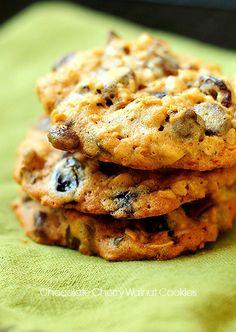 Chocolate Cherry Walnut Cookies
