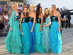 Mermaid wedding ideas. Also, love the colors on these BM dresses!