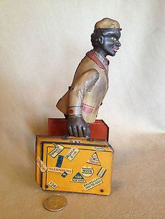 RARE 1920's Black Americana Tin Litho Porter Bellhop Wind Up Walker
