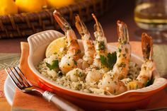 Shrimp Scampi with Meyer Lemon and Amaretto. Easy and elegant! Serve over rice and add a salad, the sauce is delish.