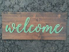 This listing is for a welcome string art sign measuring approximately 28 x 12. Boards will be stained with Dark Walnut (as pictured above)