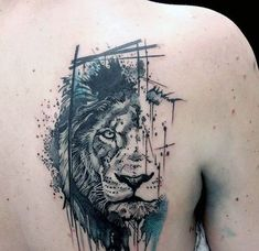Abstract Watercolor Male Lion Upper Back Tattoos