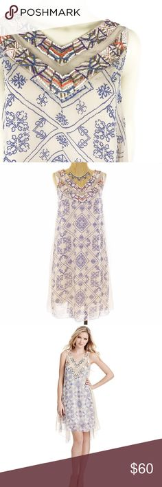 F r e e P e o p l e • B o h o • D r e s s • Sz L Free People Ancient Mystery Beaded Shift Dress Sz L                              Zigzag patterns effect the look of embroidery on a filmy chiffon Free People dress. Colorful beading and mesh panels accent the V neckline, and crinkled-chiffon insets add volume to the airy silhouette. Sleeveless. Lined.  Fabric: Chiffon. 100% polyester. Trim: 100% cotton. Hand wash. Imported, India.  MEASUREMENTS Length: 36in / 91.5cm, from shoulder Free People…