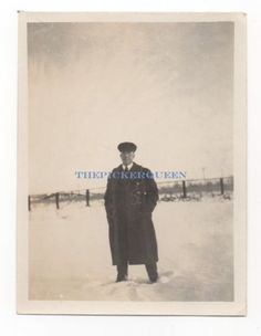 Antique Vintage Photograph~Man~Black Suit~Coat~Snow~Winter~Outside~Male~Hat