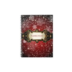 Red Christmas & Snowflakes-Monogram Spiral Note Book