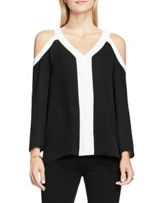 VINCE CAMUTO Cold Shoulder Color Block Blouse | Bloomingdale's