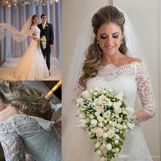 Wholesale A-Line Wedding Dresses - Buy Vestido De Noiva 2015 Modest Wedding Dresses With Sleeves Court Train Off The Shoulder Button Covered Zipper Appliques Lace Bridal Gowns QH, $139.27 | DHgate