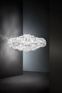 Designer Adriano Rachele designed these two sophisticated ceiling and wall lamps Drusa for Italian lighting manufacturer Slamp. Suspended Lighting, Chandelier Lighting, Light Art, Lamp Light, Lamp Design, Lighting Design, Ceiling Lamp, Ceiling Lights, Wall Lamps