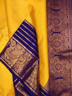 Source by Blouses Yellow Saree Silk, Soft Silk Sarees, Pattu Saree Blouse Designs, Half Saree Designs, Indian Bridal Sarees, Wedding Silk Saree, Saree Wearing Styles, Kids Blouse Designs, Silk Saree Kanchipuram