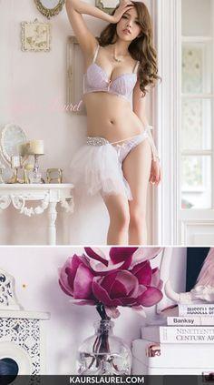 Add this chic piece to your underwear drawer:  Maya bra & brief in pink by Kaur's Laurel #bratypes #kaurslaurel   SHOP >> http://www.kaurslaurel.com/products/maya-chiffon-lace-push-up-bra-set-pink