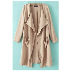 With Pockets Loose Khaki Coat (690.000 VND) ❤ liked on Polyvore featuring outerwear, coats, khaki, collarless coat, long coat, khaki coat, brown coat e long trench coat