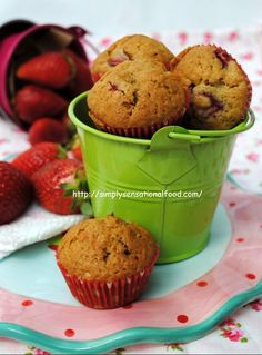 simply.food: Strawberry Kisses ~Mini eggless strawberry muffins for World baking day. #Berrylicious @lovebravissimo