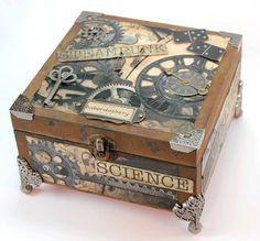 Handmade wooden Steampunk box by AnnasHaberdashery on Etsy, €26.00