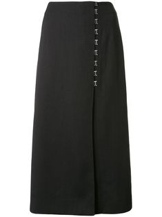 Indigo blue elastane polyester Draped E-Hook midi skirt from Dion Lee featuring a high waist, a front hook and eye fastening, a knee length and a concealed rear zip fastening. Dion Lee, Black Midi Skirt, Great Lengths, World Of Fashion, Women Wear, Lady, Skirts, Fashion Design, Clothes