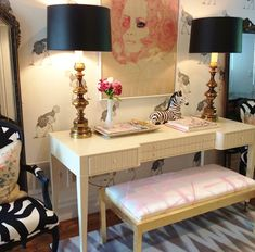 Bijou and Boheme - entrances/foyers - ostrich wallpaper, beware the moon wallpaper, ivory console table, ivory desk, tall table lamps, brass...