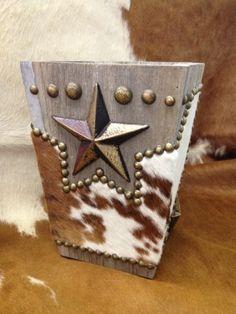 COWHIDE Western Decor STAR BARN WOOD TRASH CAN | Western Decor by Signature Cowboy