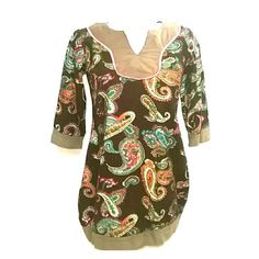 """Paisley Corduroy Funky People Tunic Dress Rich brown corduroy tunic dress with a jewel toned paisley pattern by Funky People has brown cotton trim on the hem, half sleeves, and bib V-neckline which also has a pink hookeye border.  Measures 29"""" collar to hem and 18"""" across under the arms, no stretch.  Wear with tights, leggings, or jeans.  From my smoke free home. Funky People Dresses"""