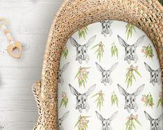 Cot Sheets Bilby & Eucalypt Print | Fitted Cot Sheet or Bassinet Sheet | Australian Native Animal | Kona Cotton, Organic Cotton