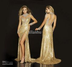 Wholesale 2013 Stunning Evening Dresses New Sexy Halter Crystals Sequins Gold Prom Dresses 67140D, Free shipping, $106.4-224.0/Piece | DHgate
