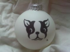 Hand painted Boston Terrier on a Christmas ball by jusbclause, $8.50