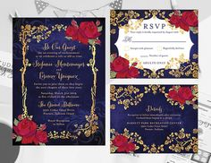 Beauty And The Beast Wedding Theme, Wedding Beauty, Beauty And The Beast Wedding Invitations, Invitation Set, Printable Invitations, Quince Invitations, Invite, Our Wedding, Dream Wedding