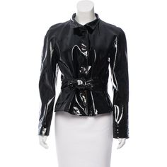 Pre-owned Valentino Patent Leather Button-Up Jacket ($295) ❤ liked on Polyvore featuring outerwear, jackets, black, patent leather jacket, patent jacket, valentino jacket, button up jacket and sash belt