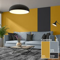 The dark grey stripe down the wall contrasts with the yellow walls surrounding i Home Living Room, Living Room Decor, Bedroom Decor, Dining Room, Room Colors, House Colors, Interior Design Living Room, Living Room Designs, Bedroom Wall Designs